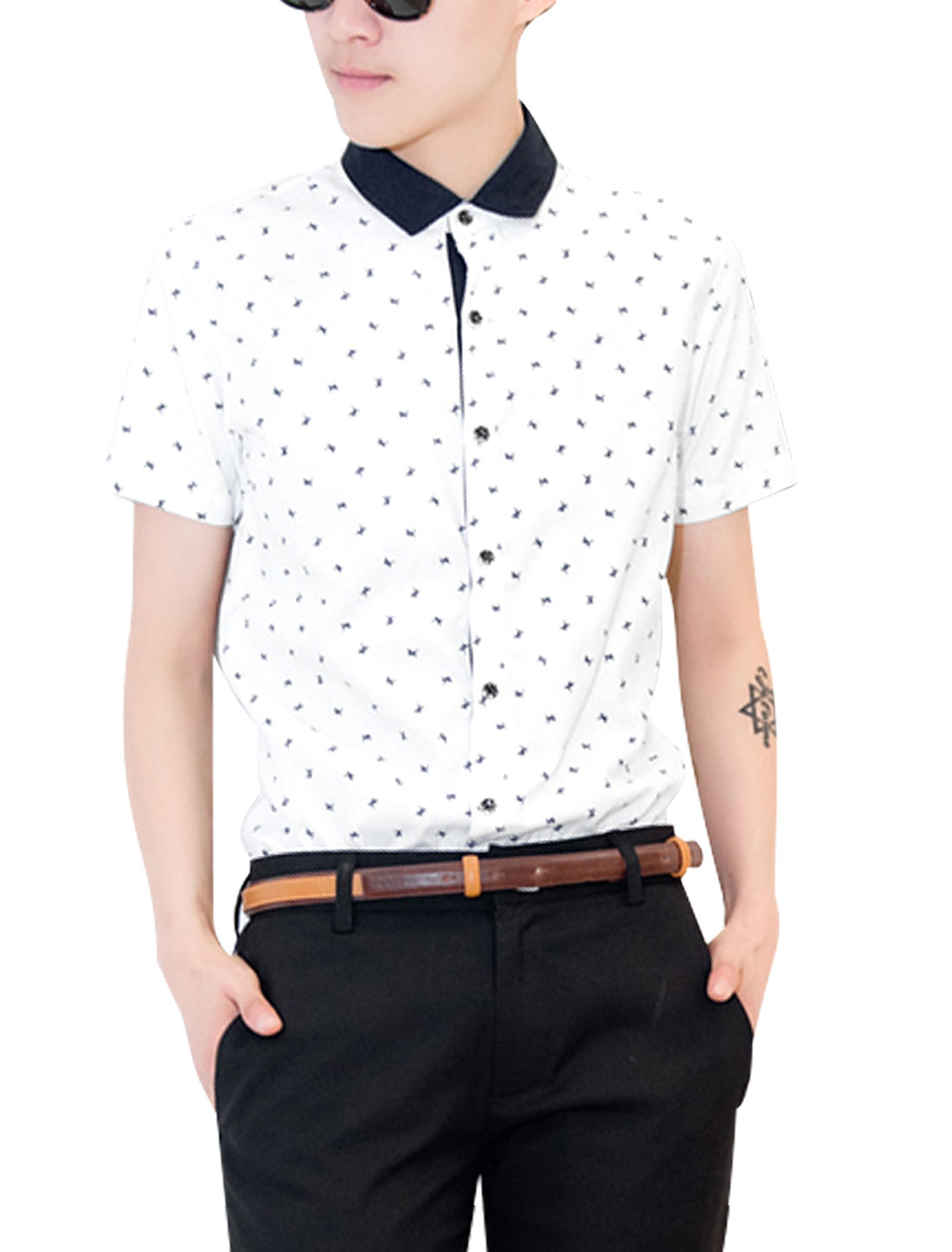 Men Buttons Closed Horse Pattern Slim Fit Fashion Shirt White S