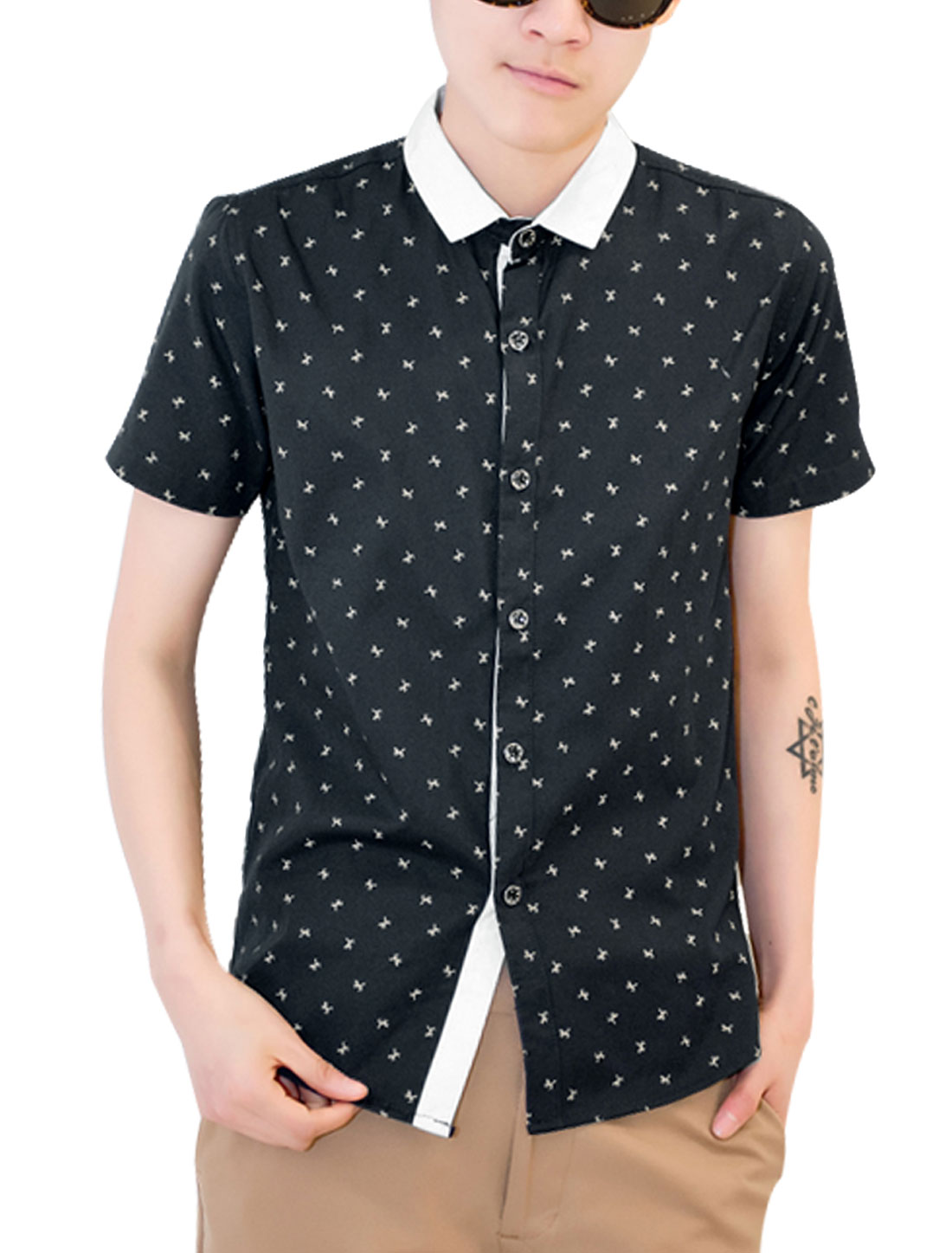 Men Single Breasted Patchwork Horse Pattern Slim Fit Shirt Navy Blue S