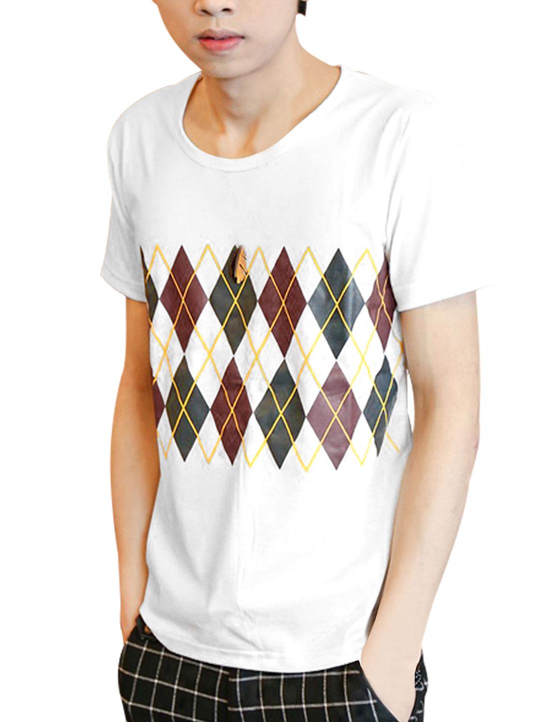 Men Short Sleeve Argyle Printed Trendy Tee Shirt White S