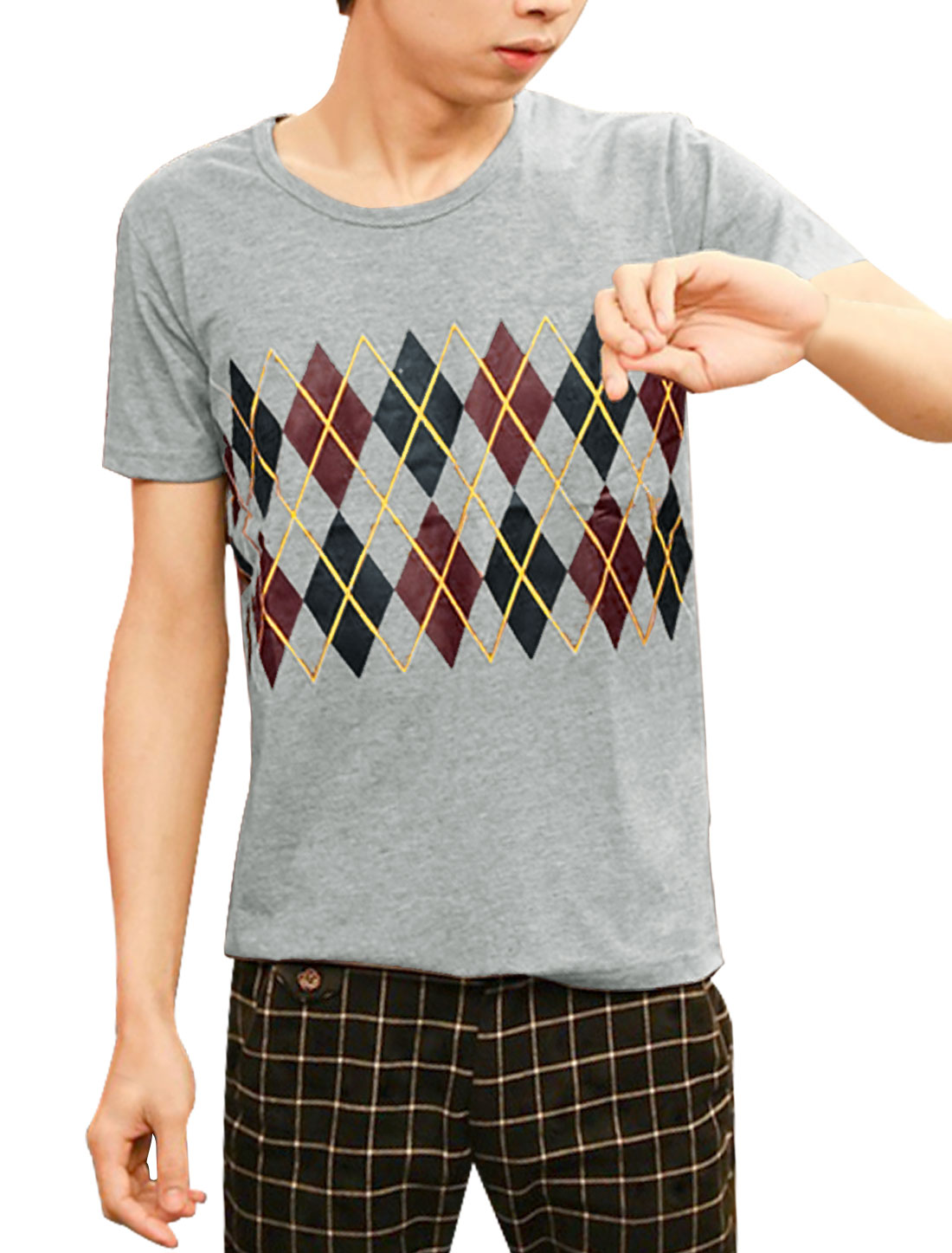 Men Slipover Short Sleeve Argyle Printed Trendy Tee Top Light Gray S