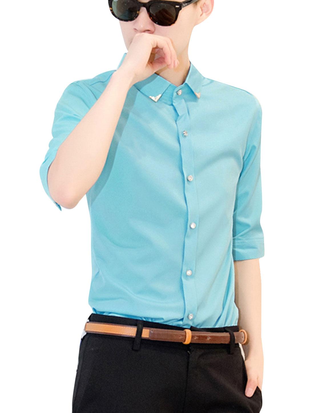 Men Point Collar Elbow Sleeve Button Up Round Hem Shirt Sky Blue S