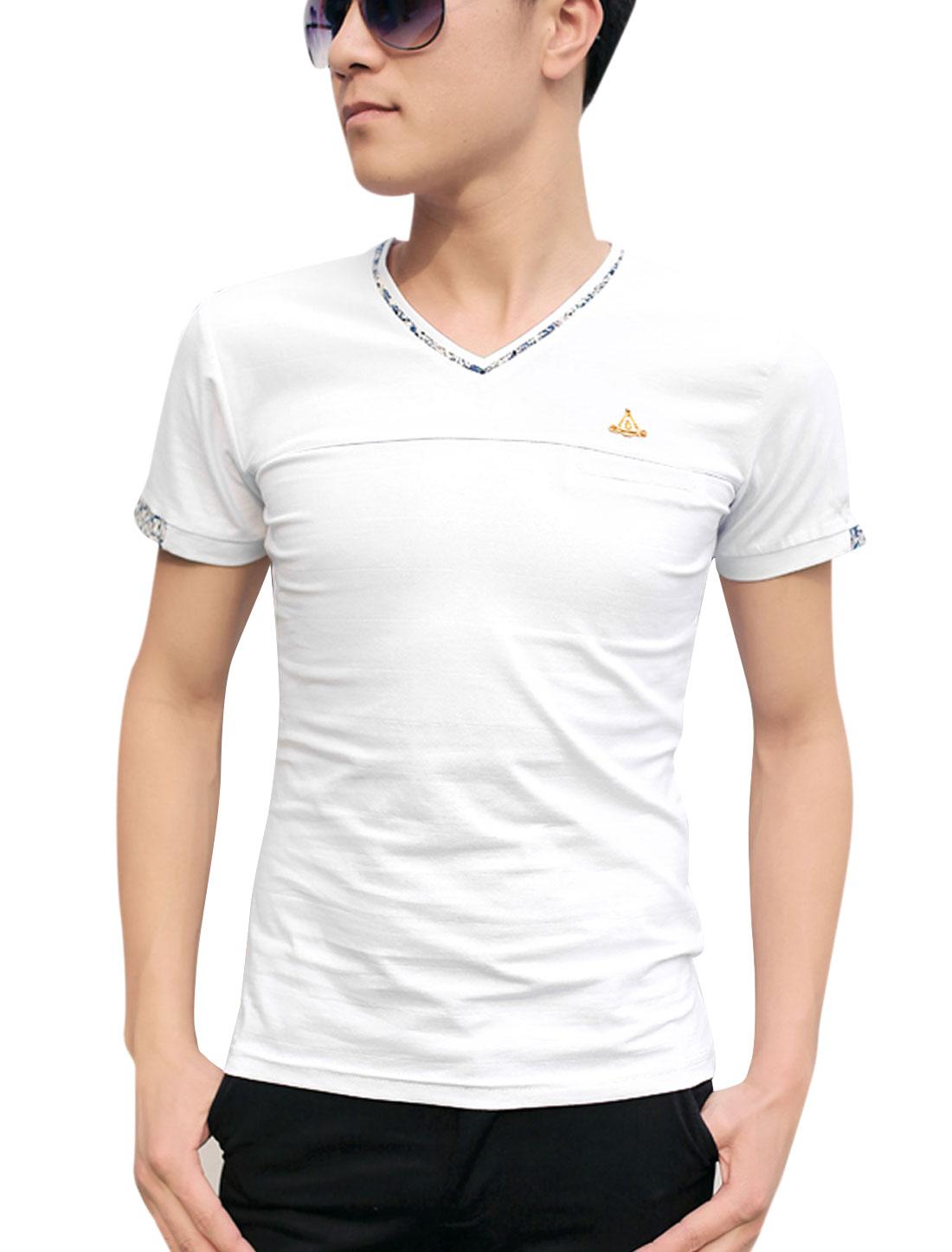 Men V Neck Short Sleeve Mock Welt Pocket Stylish T-Shirt White M