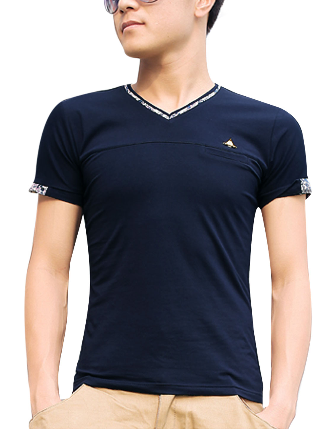 Men V Neck Short Sleeve Mock Welt Pocket Slim Fit T-Shirt Navy Blue M
