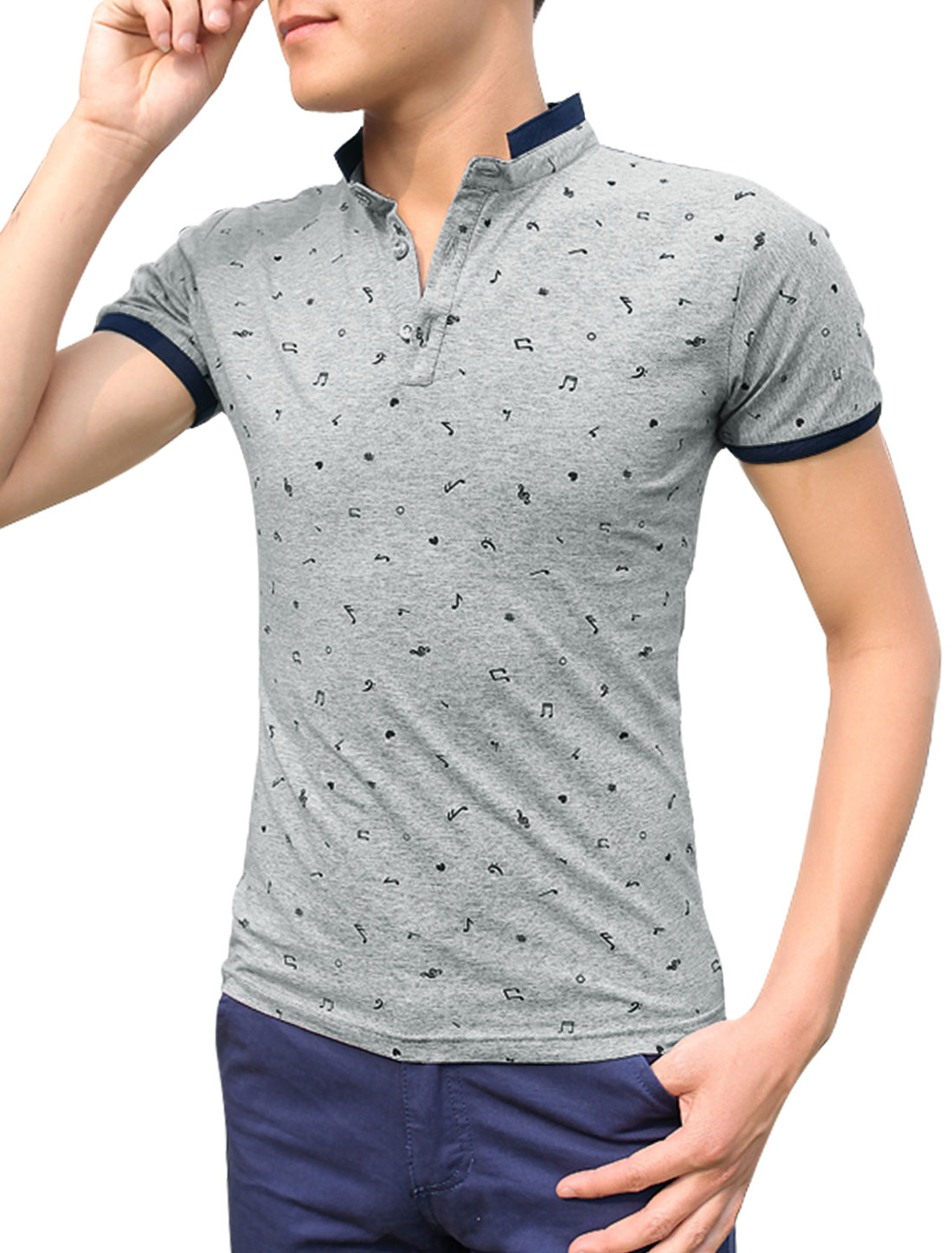 Men Stand Collar Music Note Pattern Stylish Polo Shirt Light Gray M