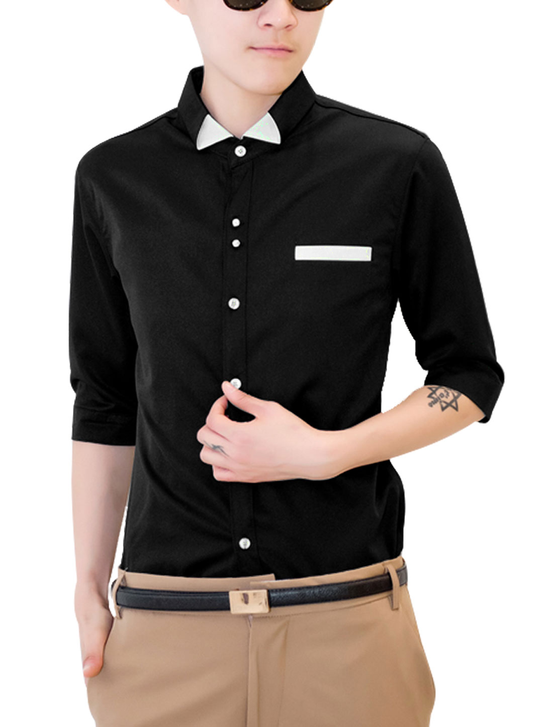 Men Elbow Sleeve Mock Chest Pocket Cozy Fit Top Shirt Black S