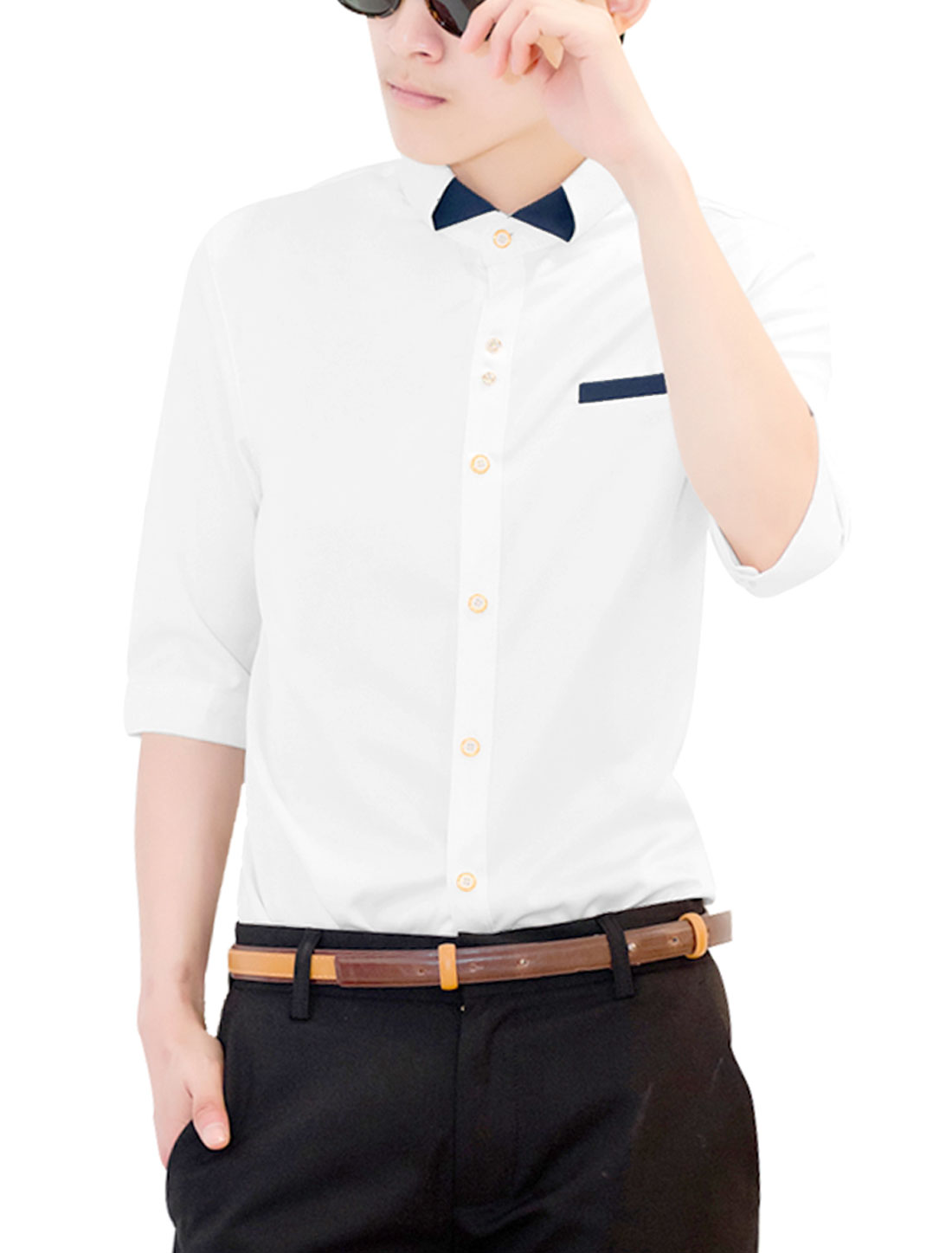 Men Single Breasted Mock Chest Pocket Panel Cozy Fit Shirt White S