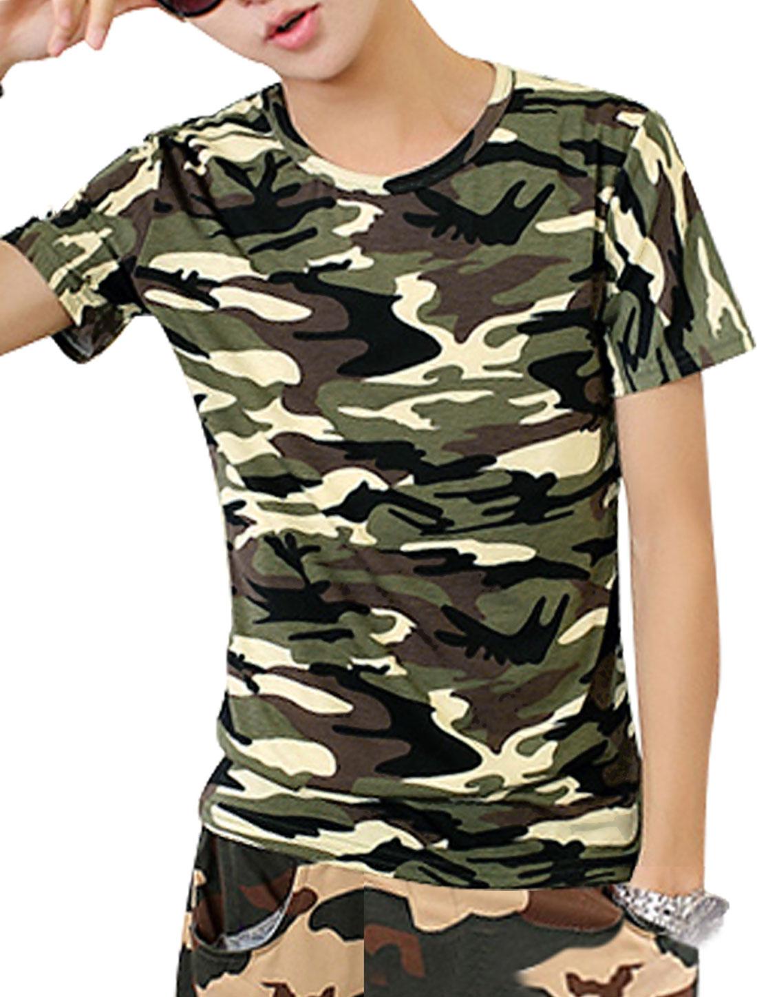Men Cozy Fit Round Neck Camouflage Pattern Tee Top Beige Brown S