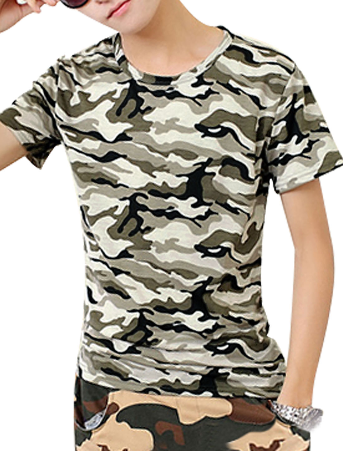 Men Slim Fit Round Neck Camouflage Pattern Pullover Tee Khaki Army Green S