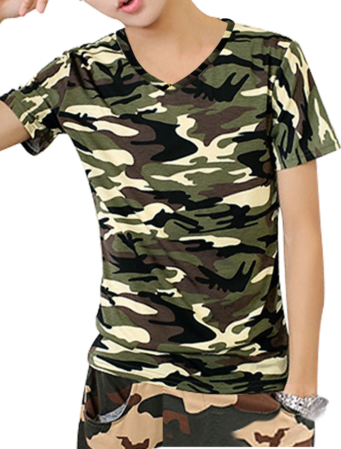 Men V Neck Camouflage Pattern Stretchy Trendy Tee Shirt Beige Brown S