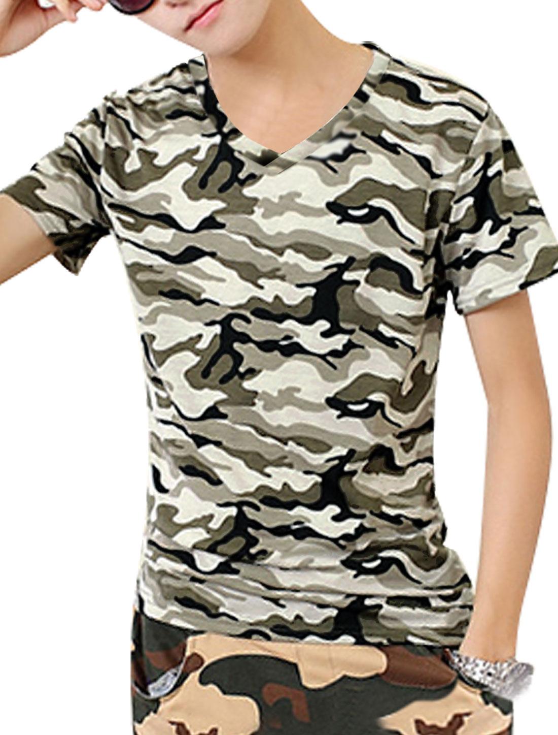 Men Slipover V Neck Camouflage Pattern Trendy Tee Khaki Army Green S