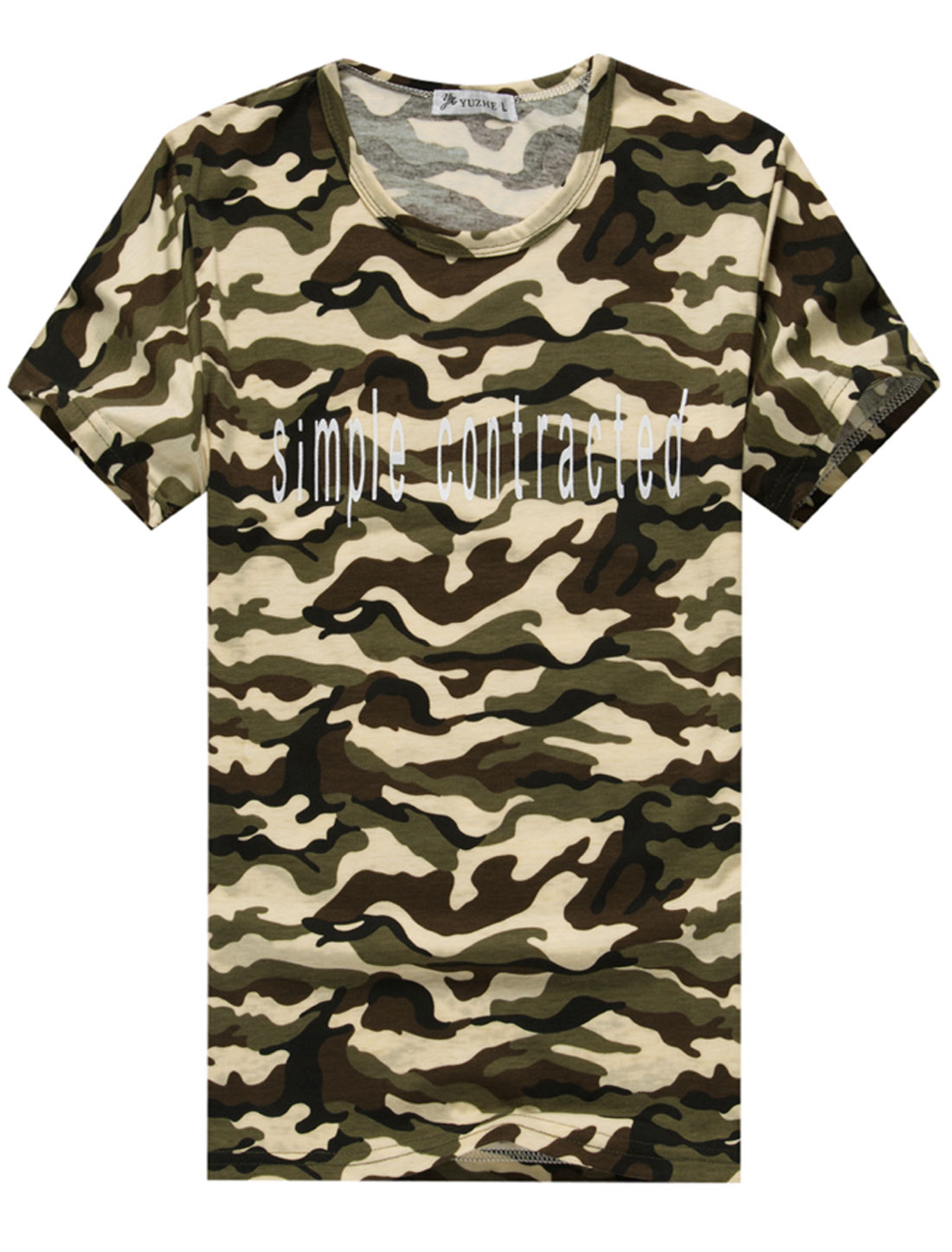 Man's Round Neck Short Sleeve Camouflage Pattern Letter Print Tee Shirt Multicolor M