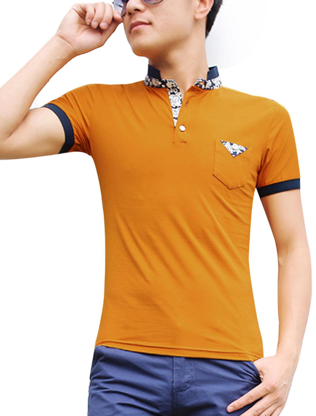 PL03 Men Slim Fit Short Sleeve Detail Polo Shirt Ochre XXL/M (US 38)