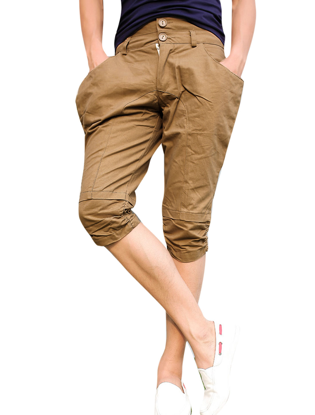 Man Zip Fly Double Button Closure Slant Pockets Chino Shorts Dark Khaki W30