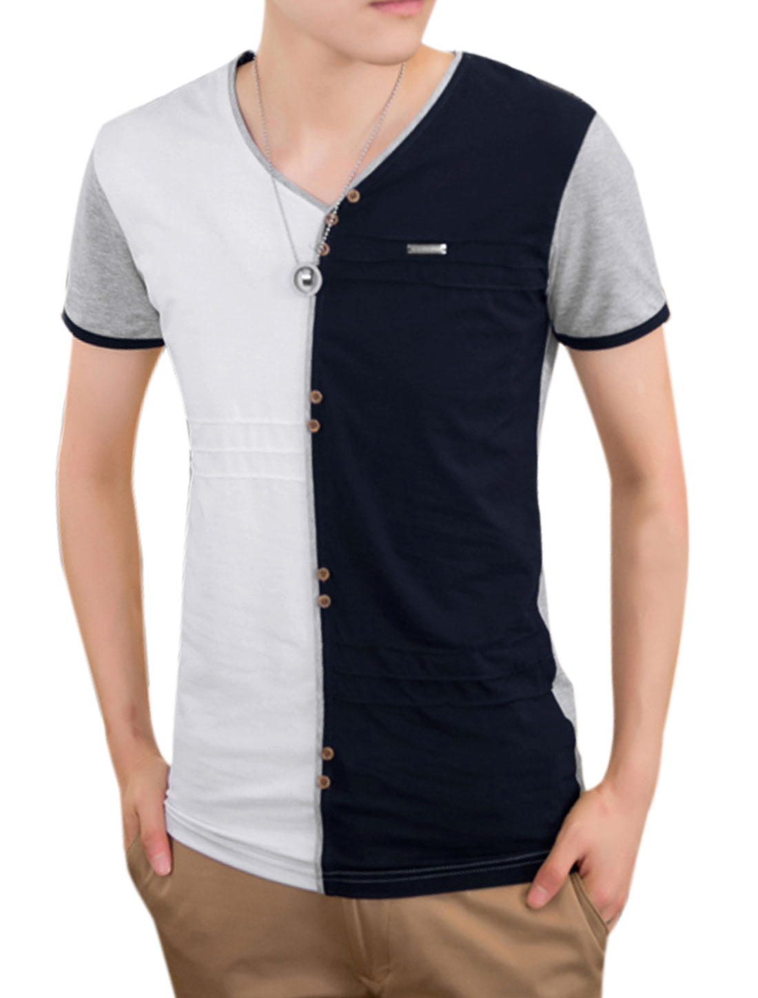 Men Summer Short Sleeve Colorblock Buttons Decor Tee White Navy Blue M