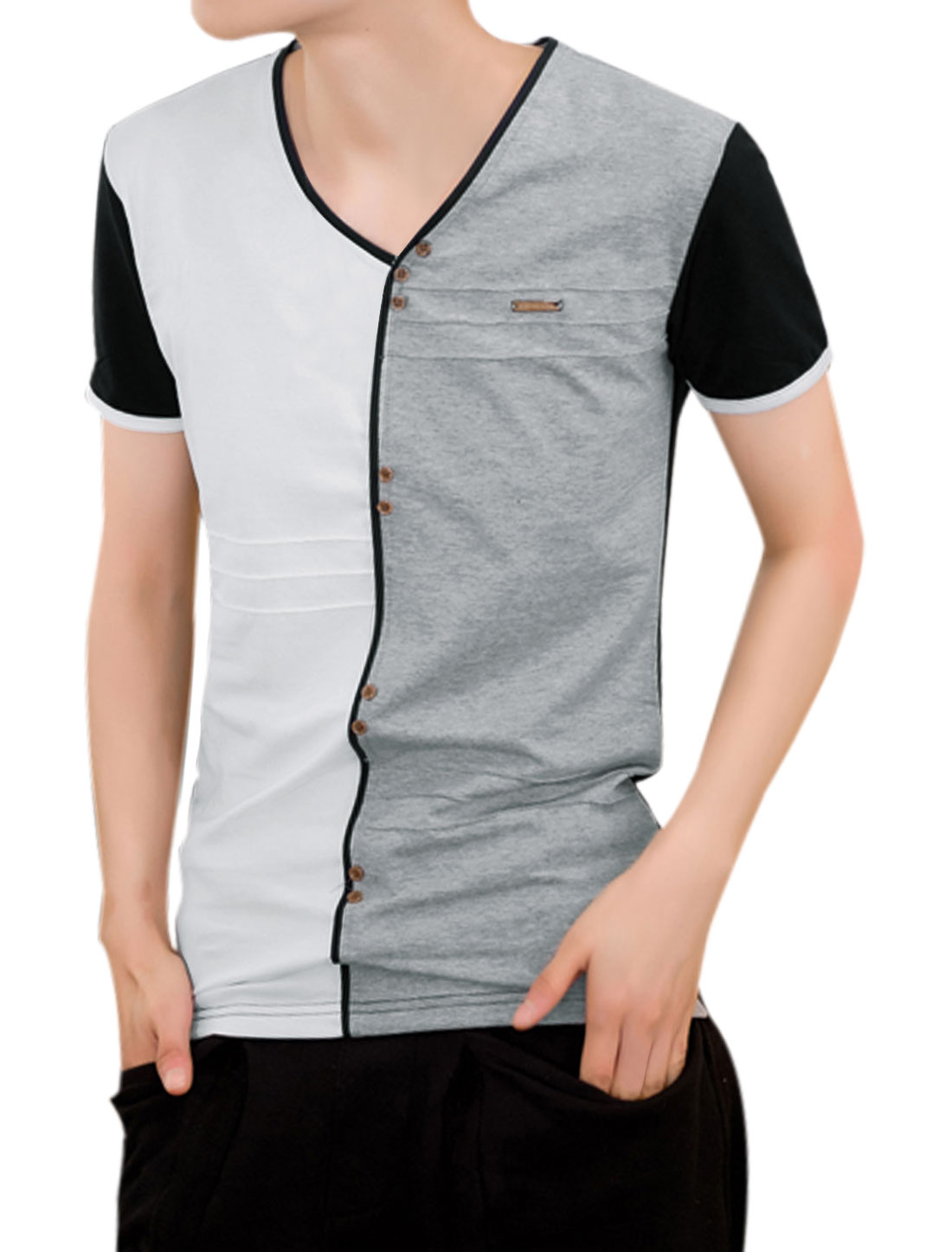 Men V Neck Short Sleeve Colorblock Buttons Decor Tee White Gray M