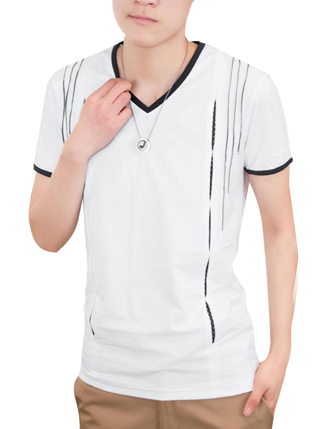 Men V Neck Short Sleeve Stripes T-Shirt White M