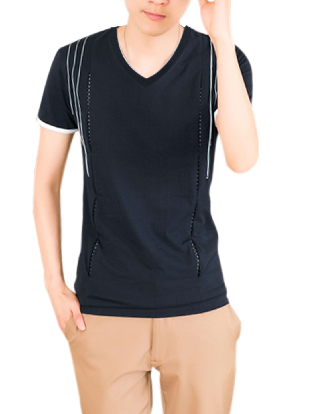 Men Short Sleeve Stripes T-Shirt Navy Blue M