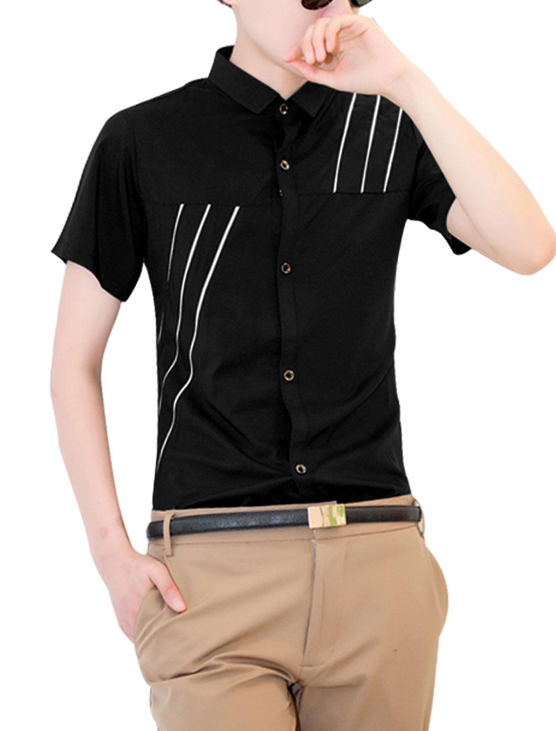 Men Point Collar Short Sleeve Round Hem Stripes Shirt Black S