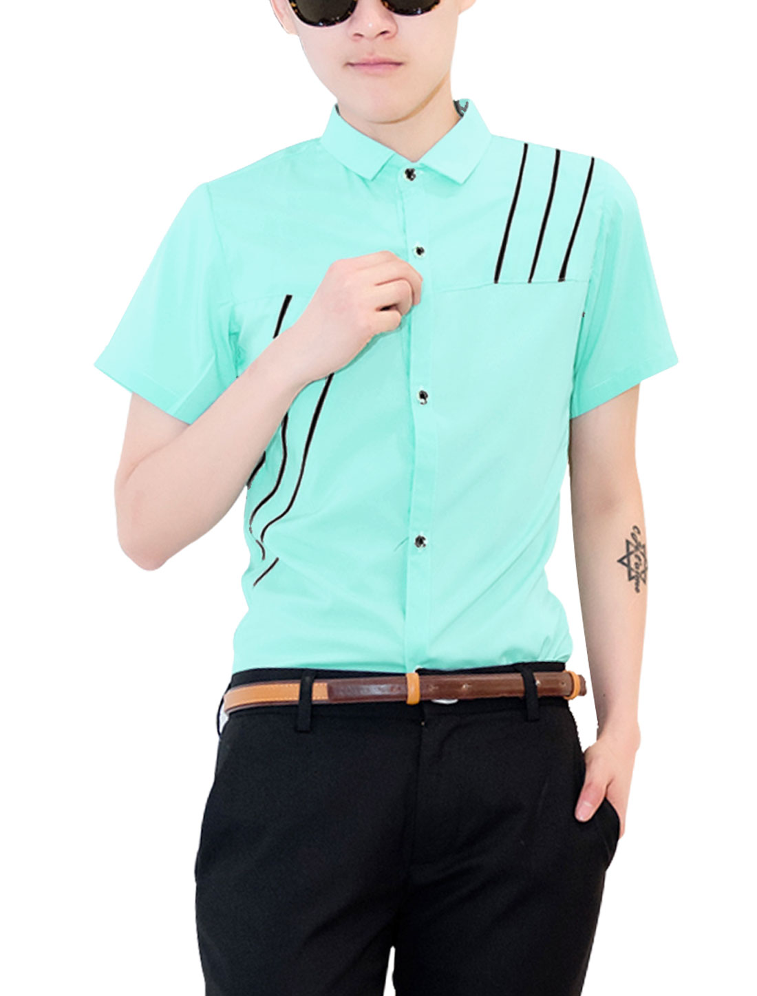 Men Point Collar Short Sleeve Button-Front Stripes Shirt Mint S