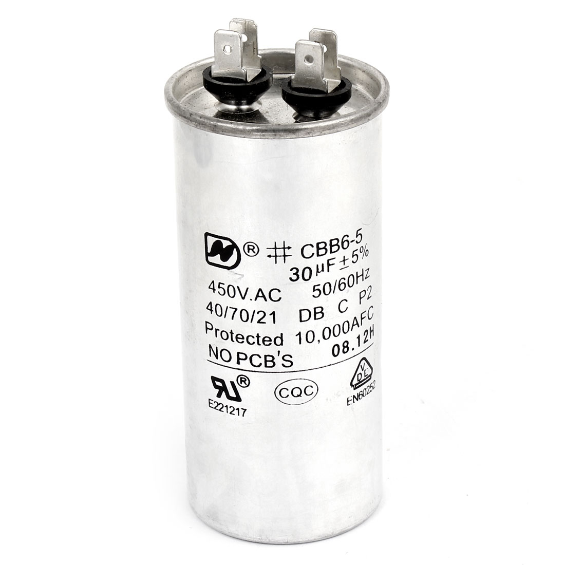 CBB65 AC 450V 30uF 50/60Hz 4 Terminals Cylinder Shaped Air Conditioner Motor Run Capacitor Silver Tone