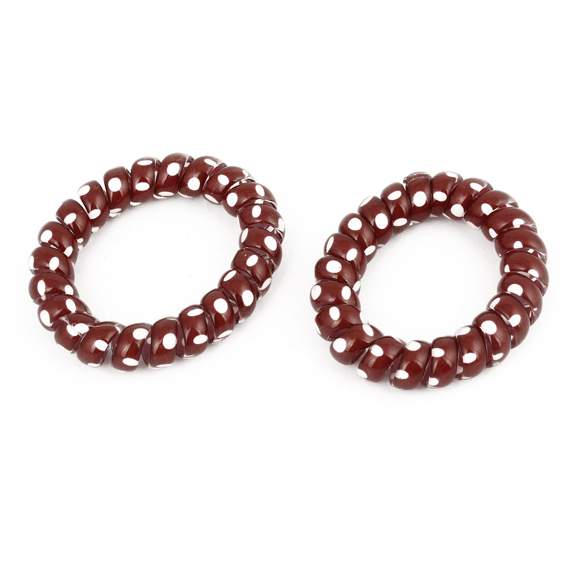 Pair Women Stretchy White Dot Pattern Telephone Line Shape Ponytail Holders Burgundy