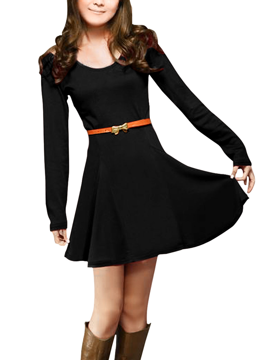 Ladies Long Sleeves Scoop Neck Stretchy Dress w Belt Black S