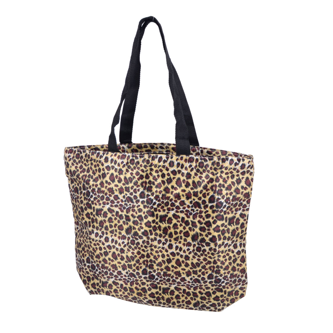 Zip Up Leopard Print Polyester Surface Shopping Shoulder Bag Brown