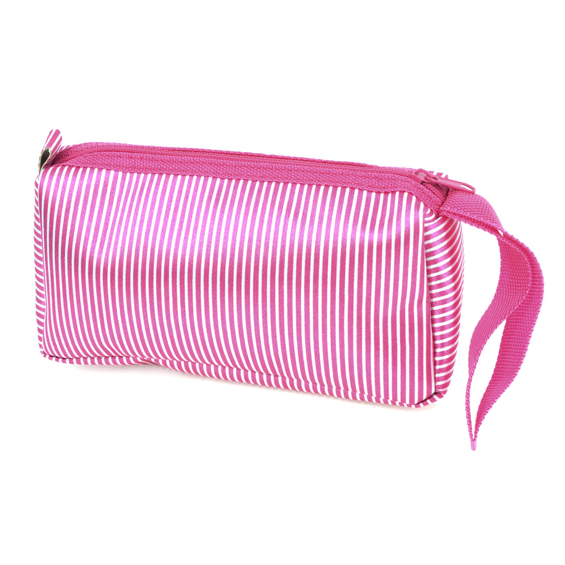 Portable White Stripes Print Fuchsia Polyester Surface Cosmetic Bag