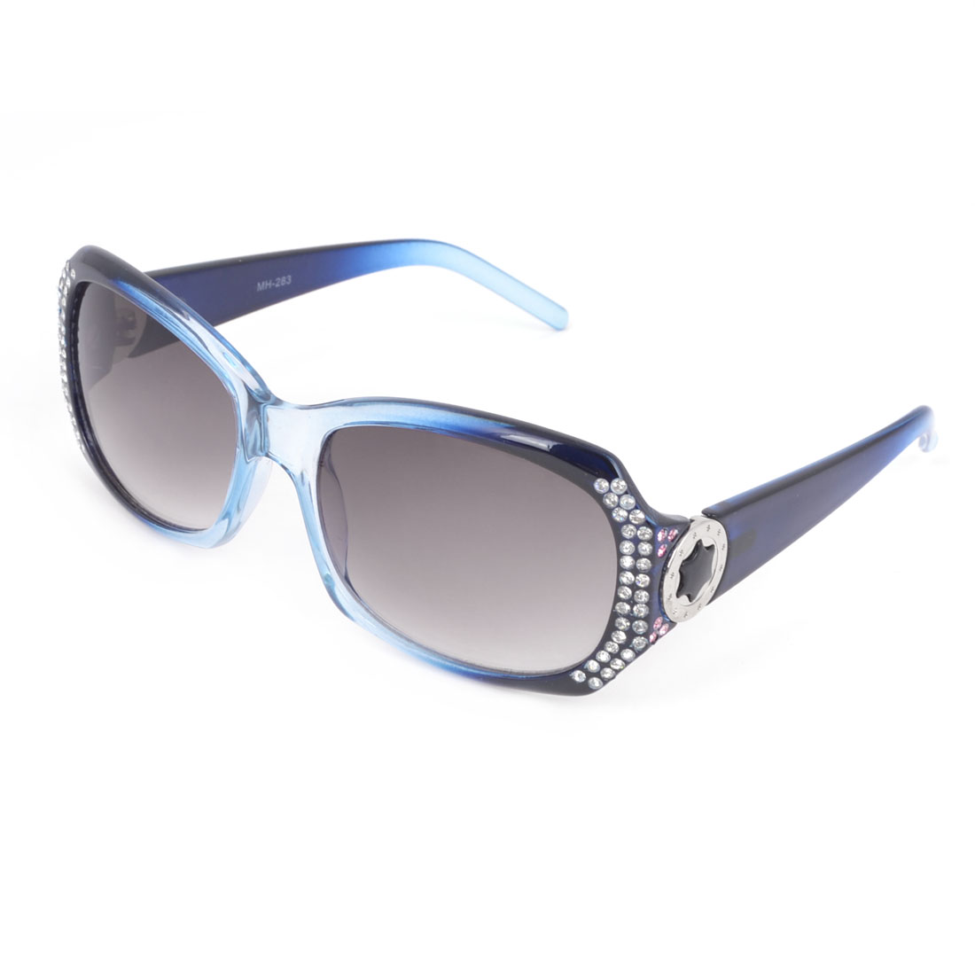 Ladies Blue Plastic Full Rim Gray Rectangle Lens Sunglasses Glasses