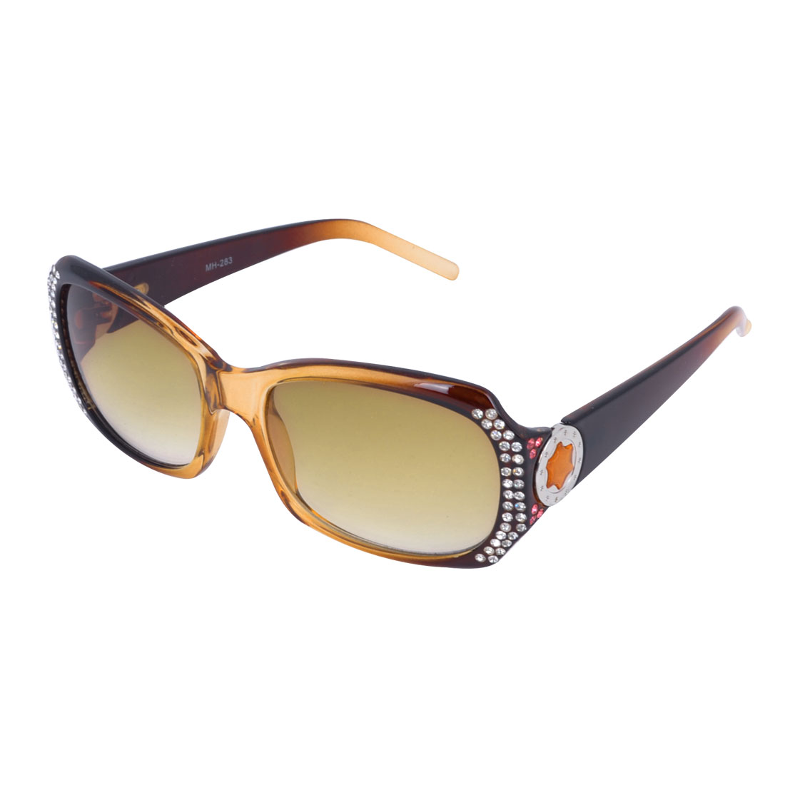 Ladies Brown Plastic Full Rim Rectangle Lens Sunglasses Glasses