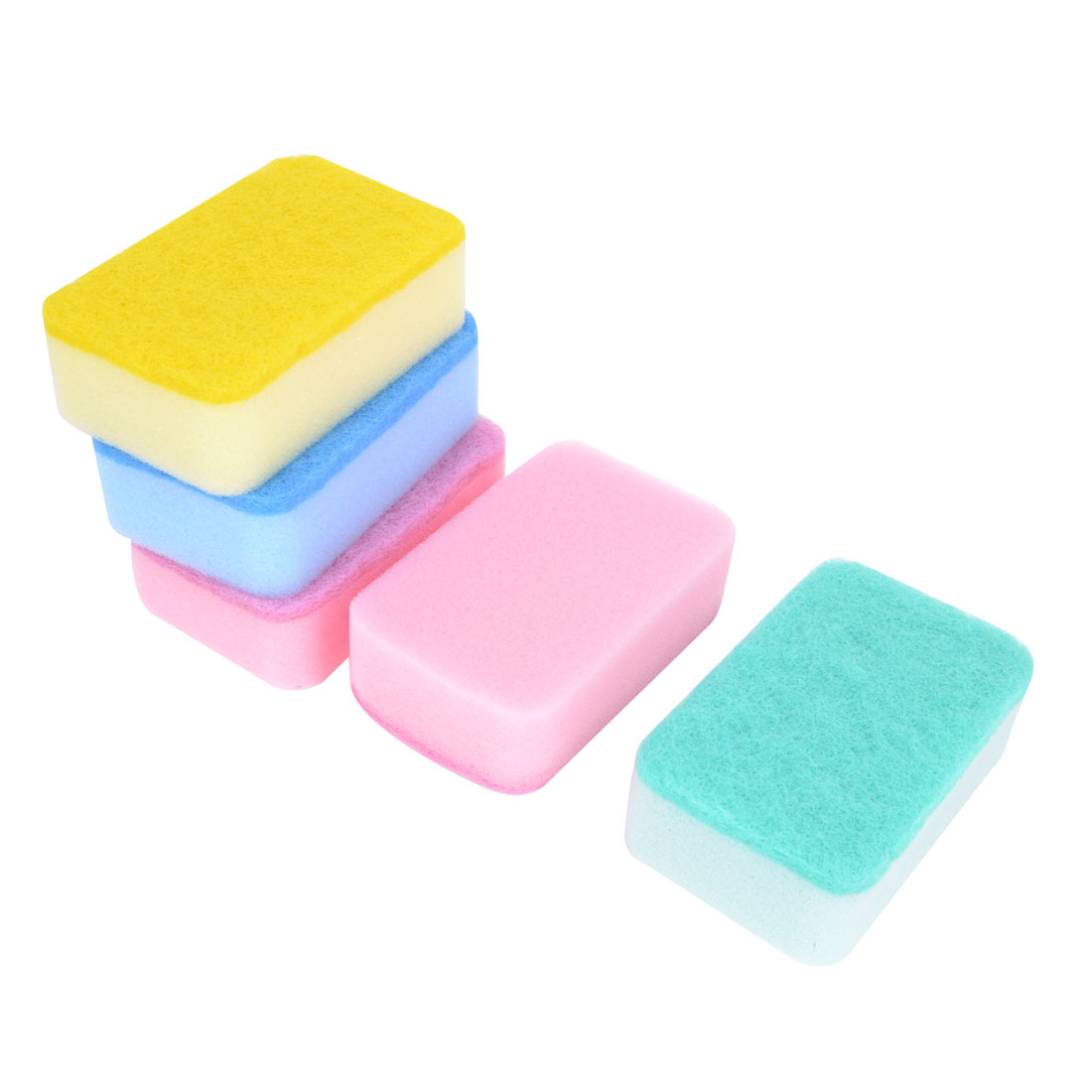 Kitchen Multicolor Dishwashing Dish Bowl Scrub Sponge Pads 5 PCS