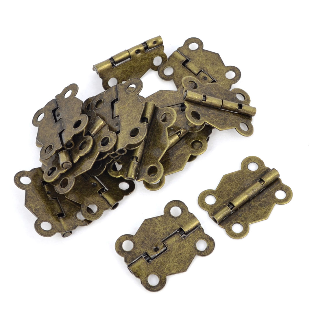 19 Pcs Bronze Tone Metal 2.4cm Long Door Brocade Box Butte Hinges