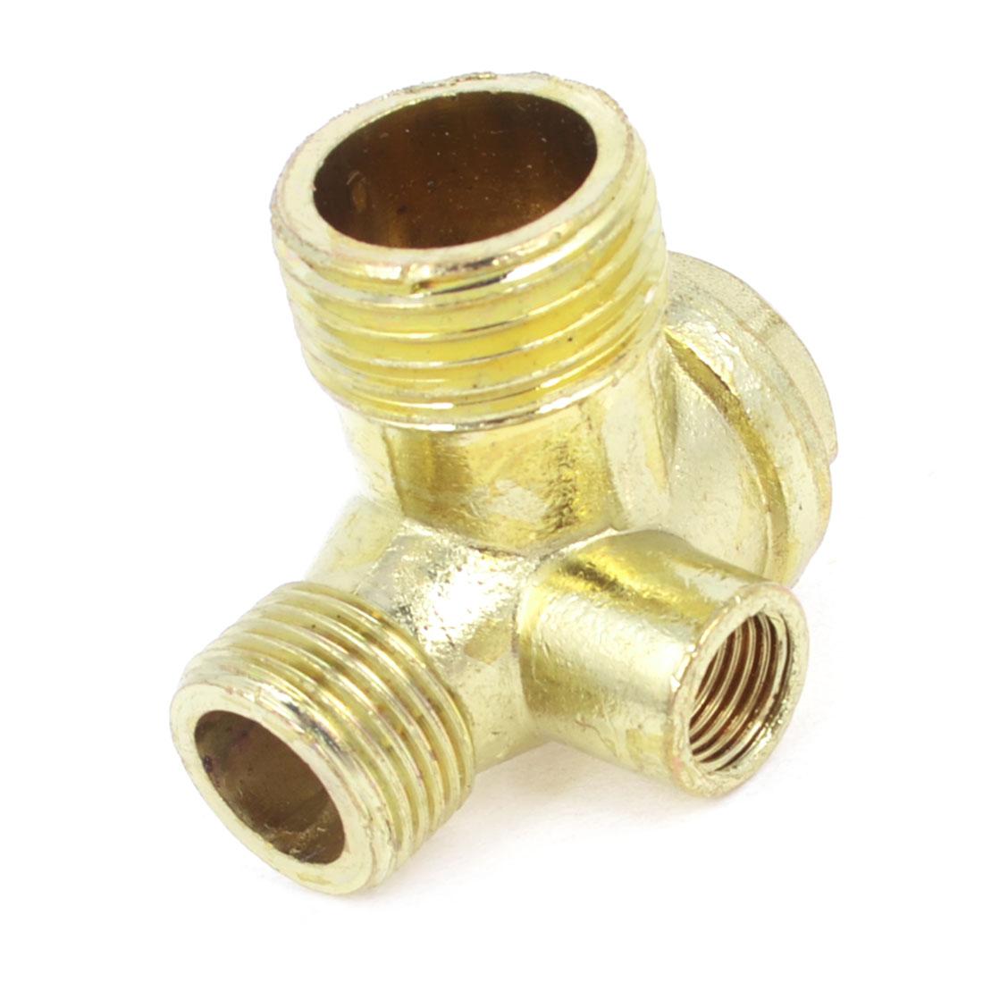 9mm Diameter Female Threaded Gold Tone Brass Air Compressor Check Valve