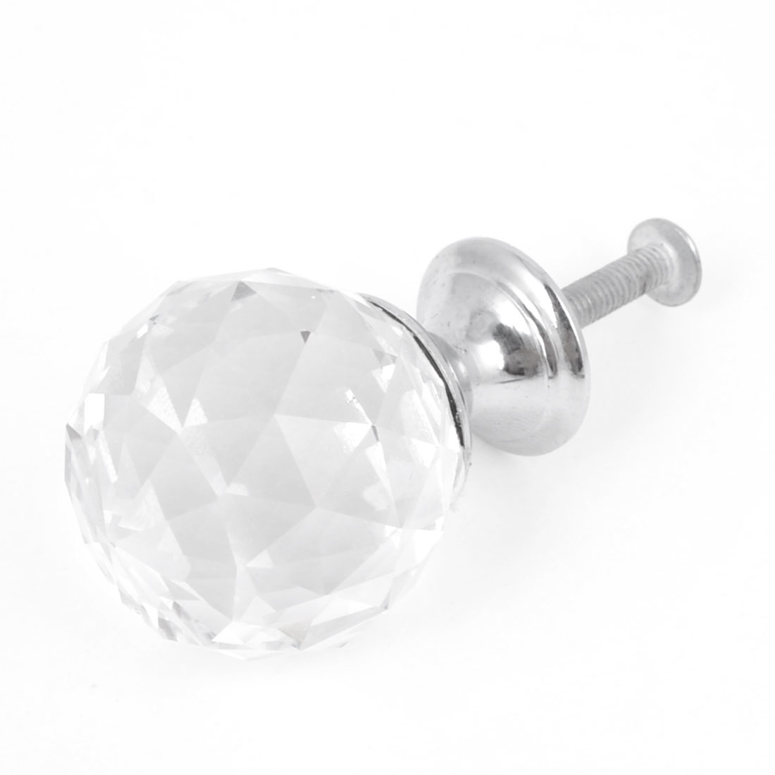 Drawer Dresser Silver Tone Base 3cm Diameter Clear Plastic Faceted Faux Crystal Top Pull Knob Handle