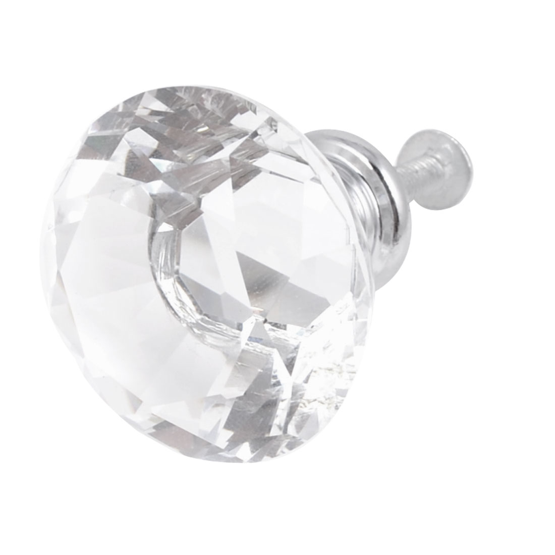 "Drawer Dresser Silver Tone Base 1.3"" Diameter Clear Plastic Shiny Faux Crystal Top Pull Knob Handle"