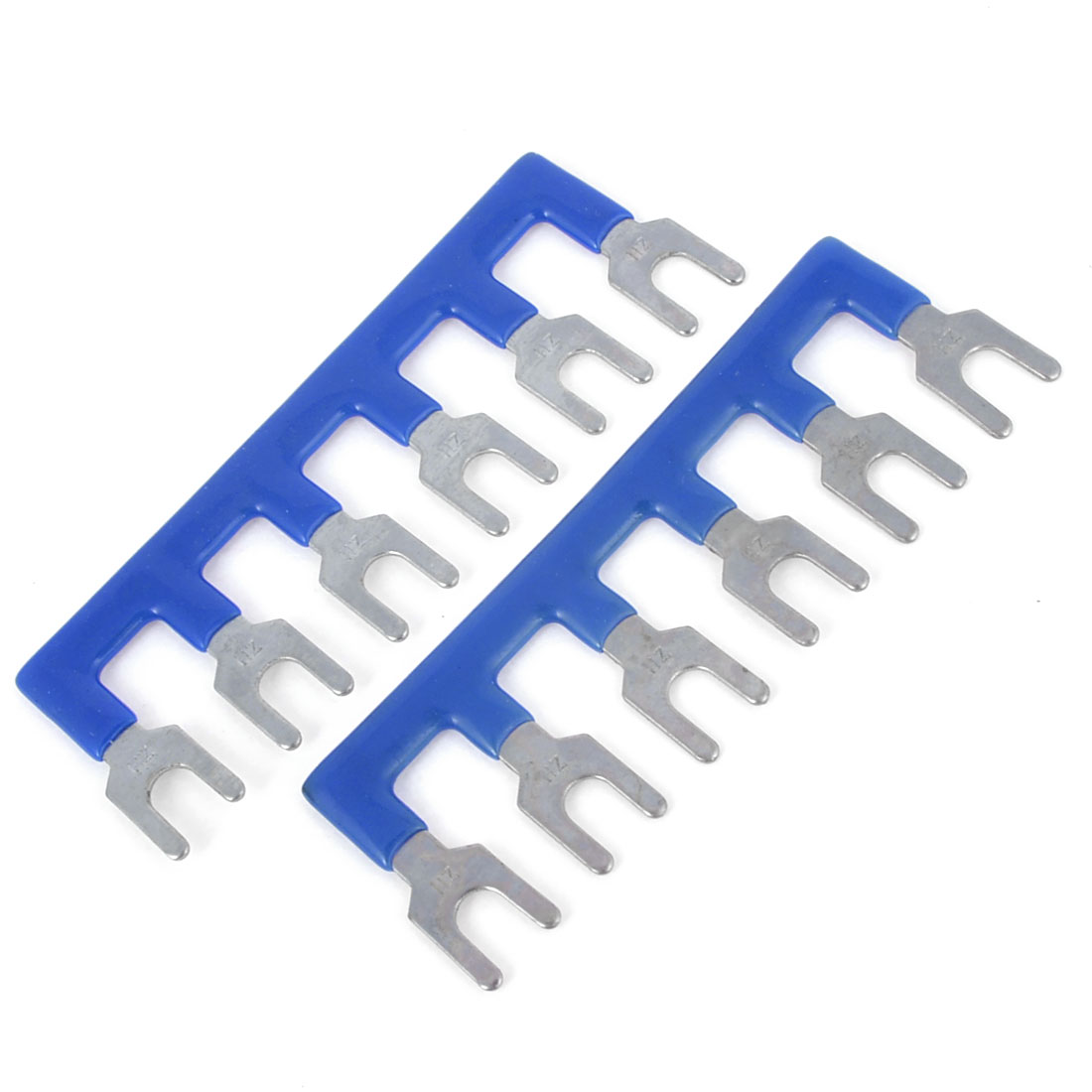 400V 10A 6 Positions Pre Insulated Terminal Barrier Stripe Blue 2 Pcs
