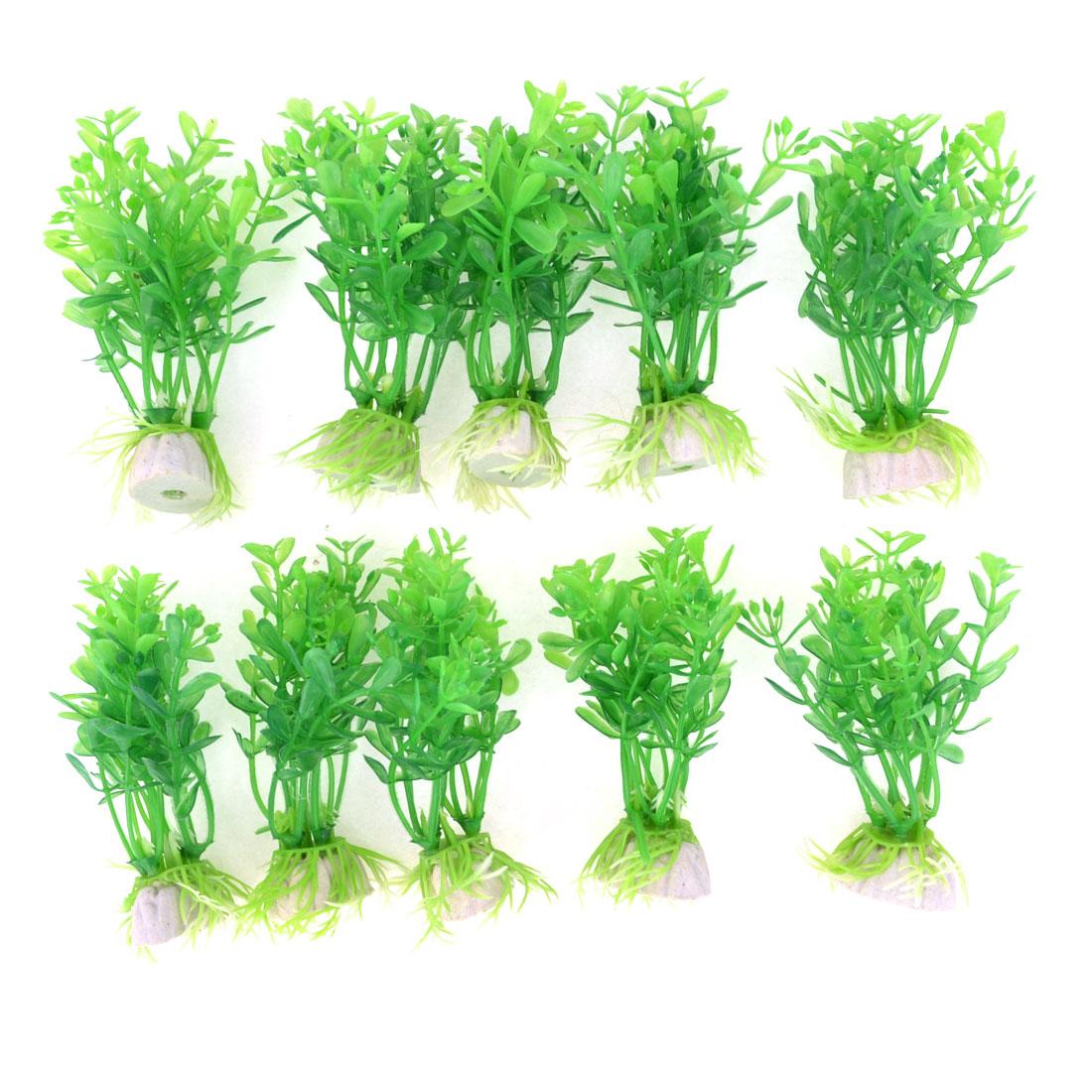 """10pcs 3.5"""" Green Leaves Aquarium Simulation Plastic Plant"""