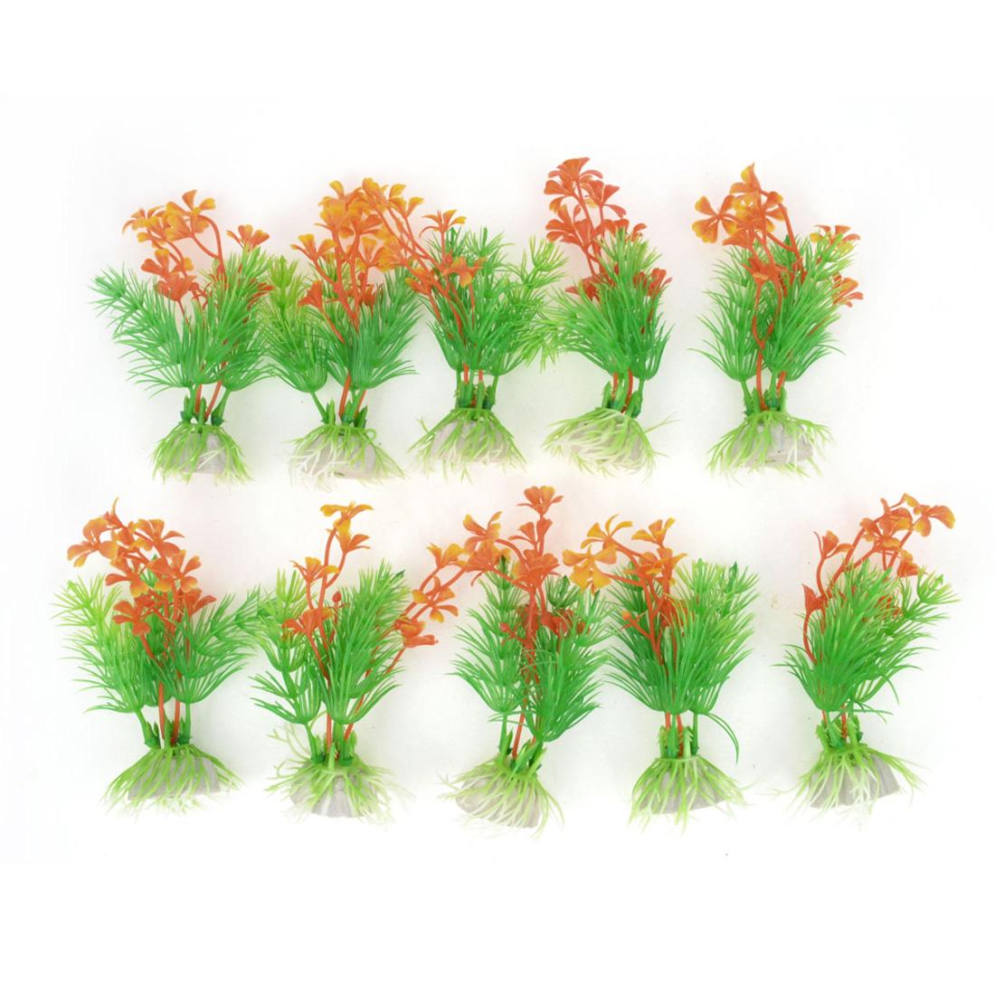 """10pcs 4.1"""" Green Orange Leaves Aquarium Simulation Plastic Aquatic Plant Ornament"""