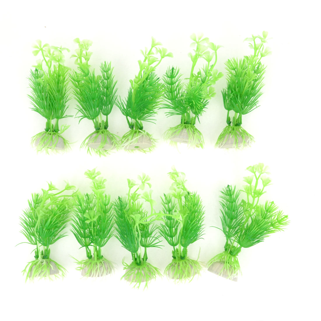10pcs Aquarium 11.5cm High Green Needle Leaf Simulated Aquatic Plant