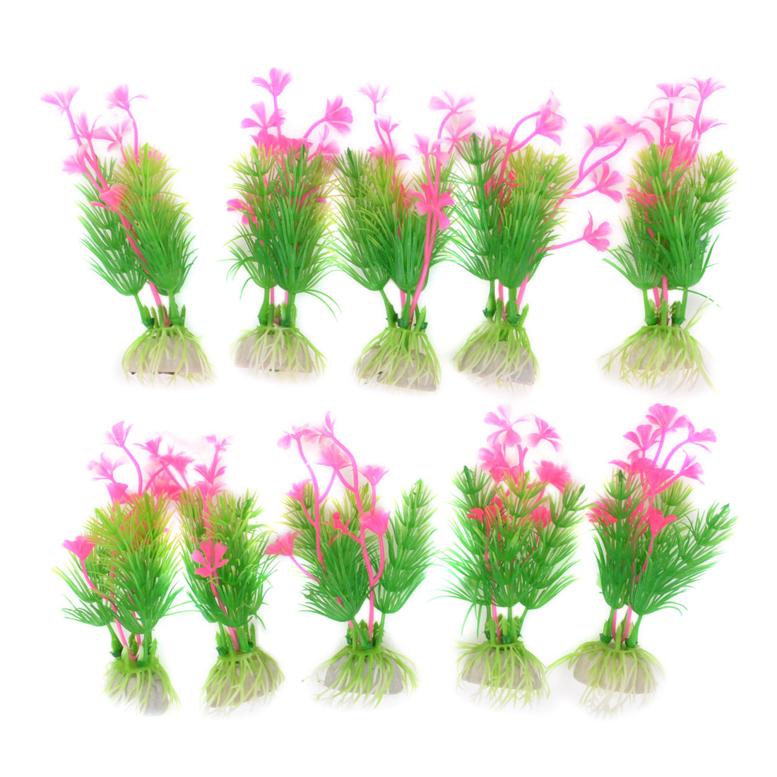 "10pcs Fish Tank Aquarium Aquascaping Emulational Water Plant Green Pink 4.1"""