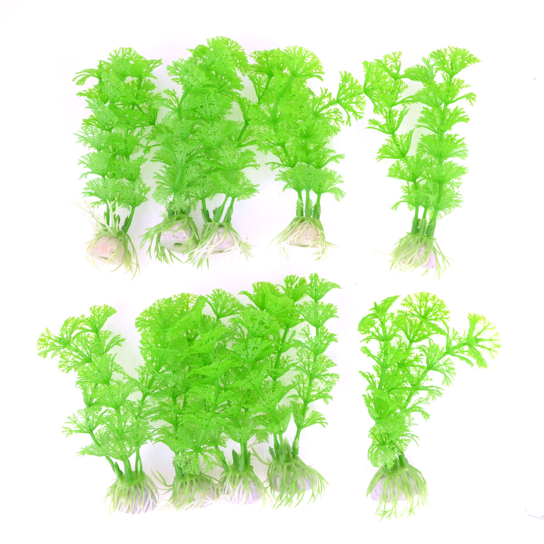 "10pcs 4.9"" Green Snowflake Leaves Aquarium Simulation Plastic Aquatic Plant"