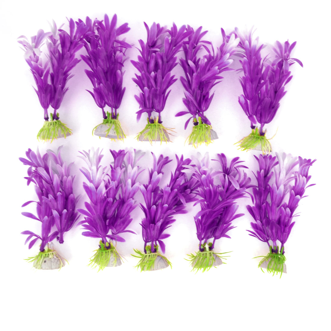 "10pcs 4.1"" Height Purple White Aquarium Simulation Plastic Aquatic Plant Ornament"