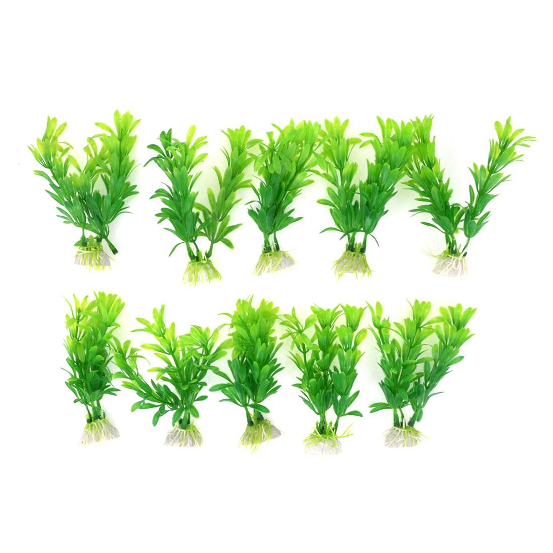 10pcs Green Aquarium Landscaping 10.5cm High Simulated Aquatic Plant Decor