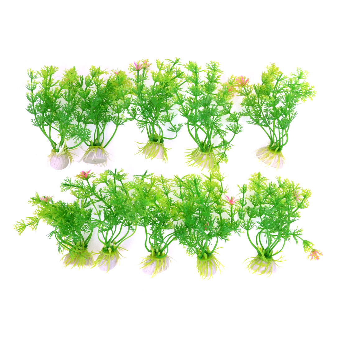 "Aquarium Tanks Decor Green Plastic Emulational Aquaric Plant Grass 3.9"" 10pcs"