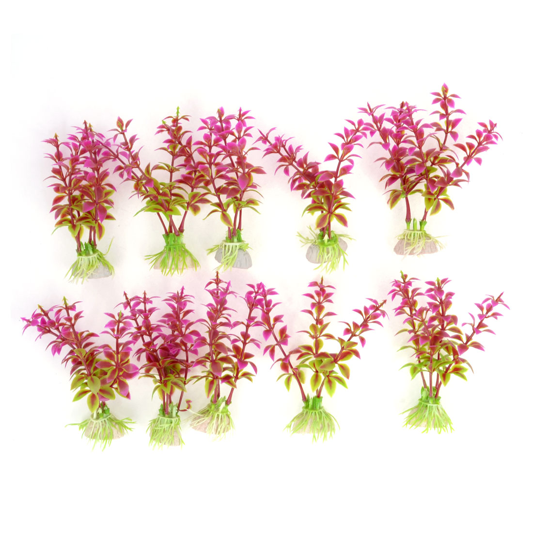 Aquarium Tanks Decor Green Fuchsia Plastic Emulational Aquaric Plant 11cm 10pcs