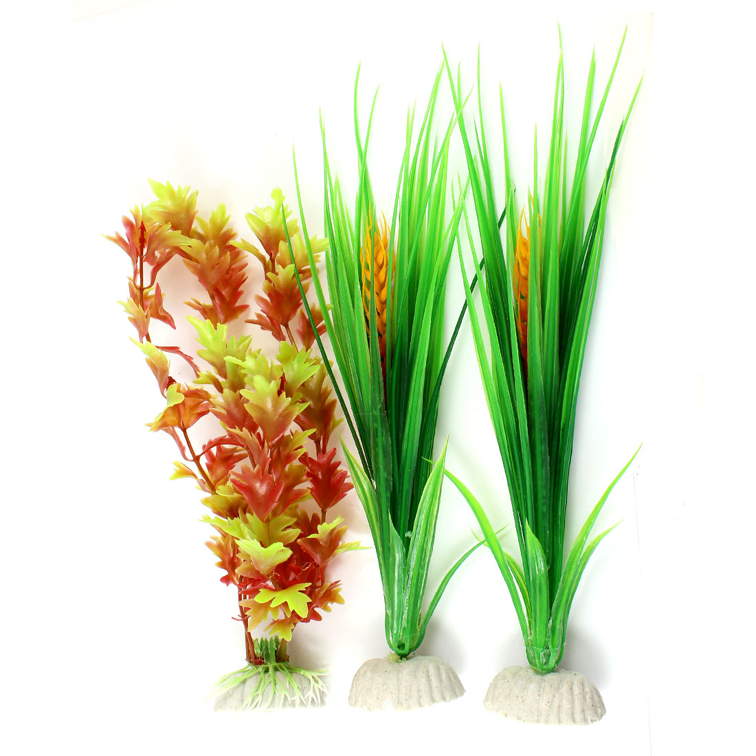 "Aquarium Fish Tank Landscaping Artificial Emulational Underwater Water Plant Grass Ornament Green Amaranth 9.4"" Height 3pcs"