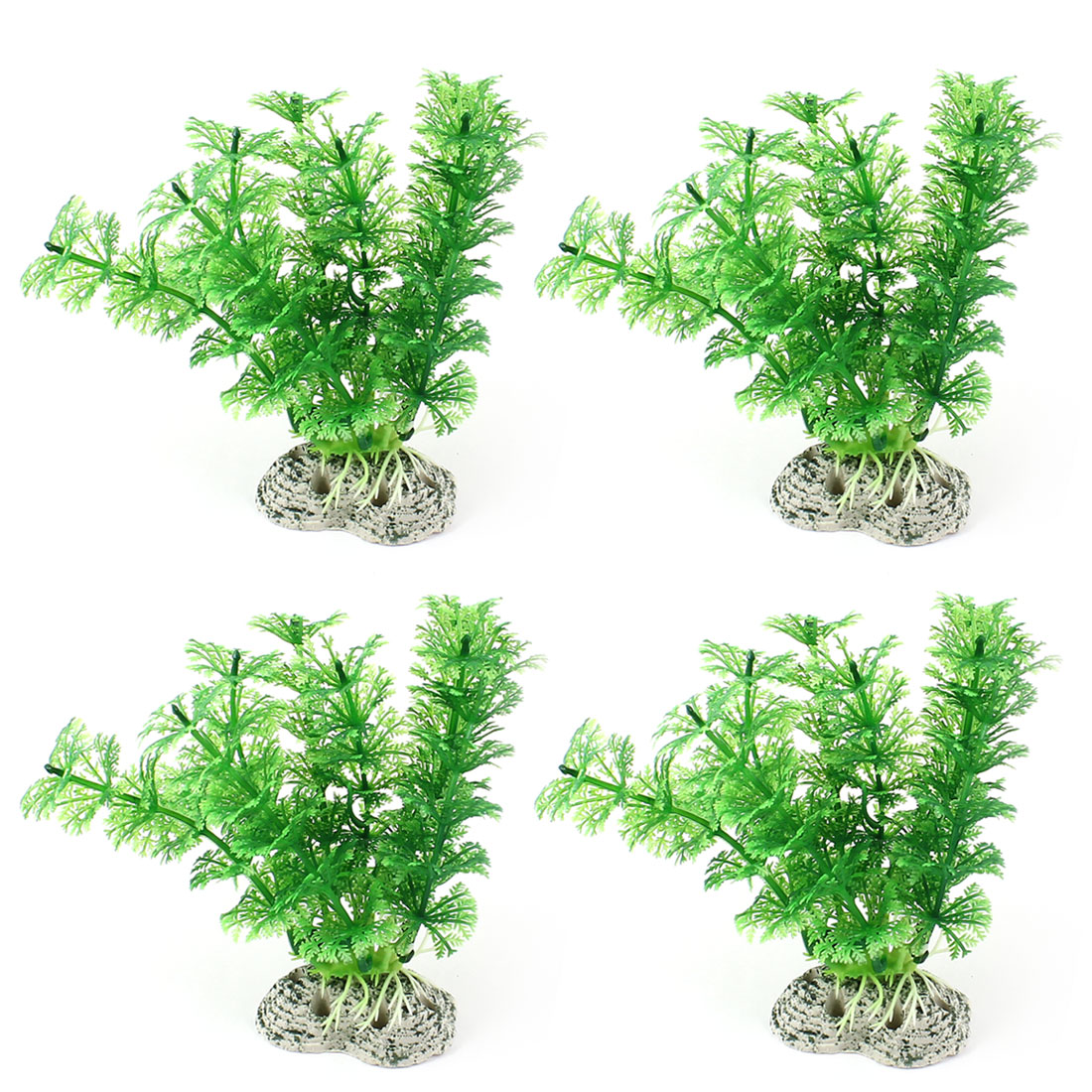 "Aquarium Fish Tank Landscaping Artificial Emulational Underwater Water Plant Grass Ornament Green 5.5"" Height 4pcs"