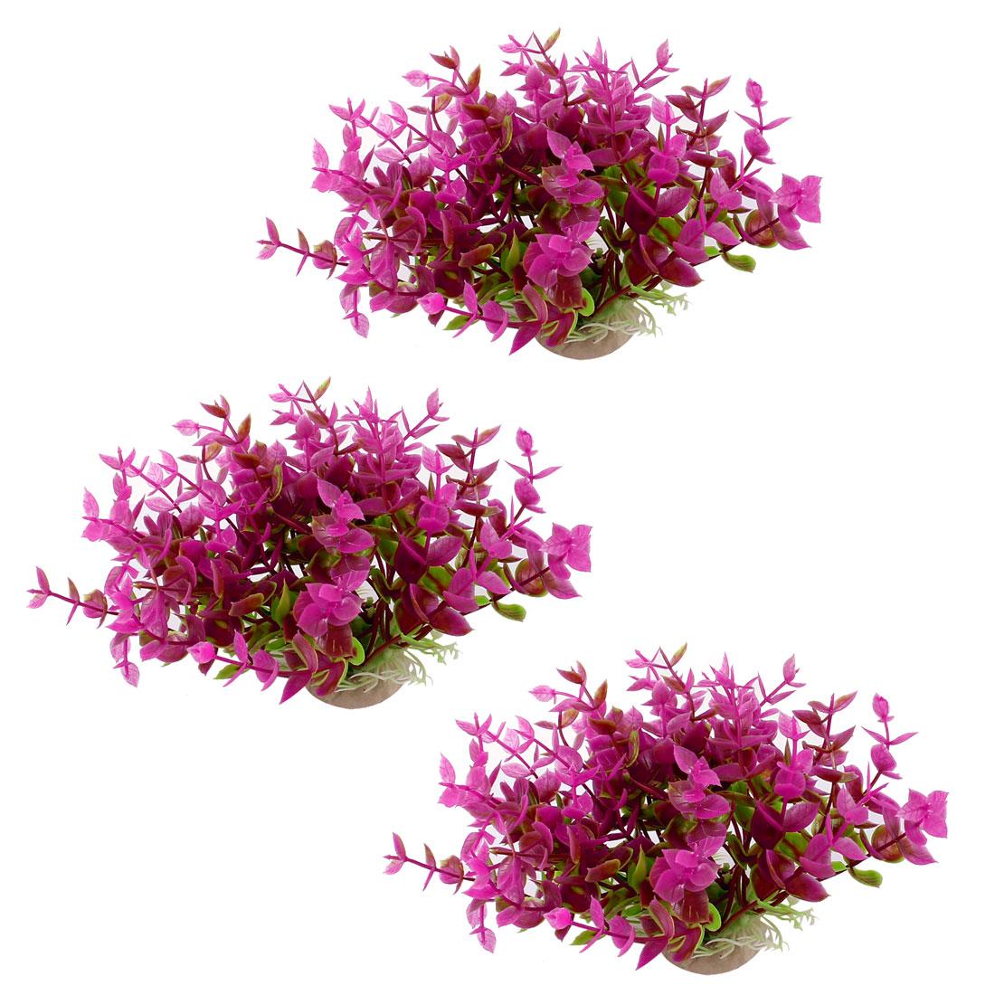 "Aquarium Fish Tank Ornament Landscaping Artificial Emulational Underwater Water Plant Grass Decor Green Fuchsia 4.3"" Height 3pcs"