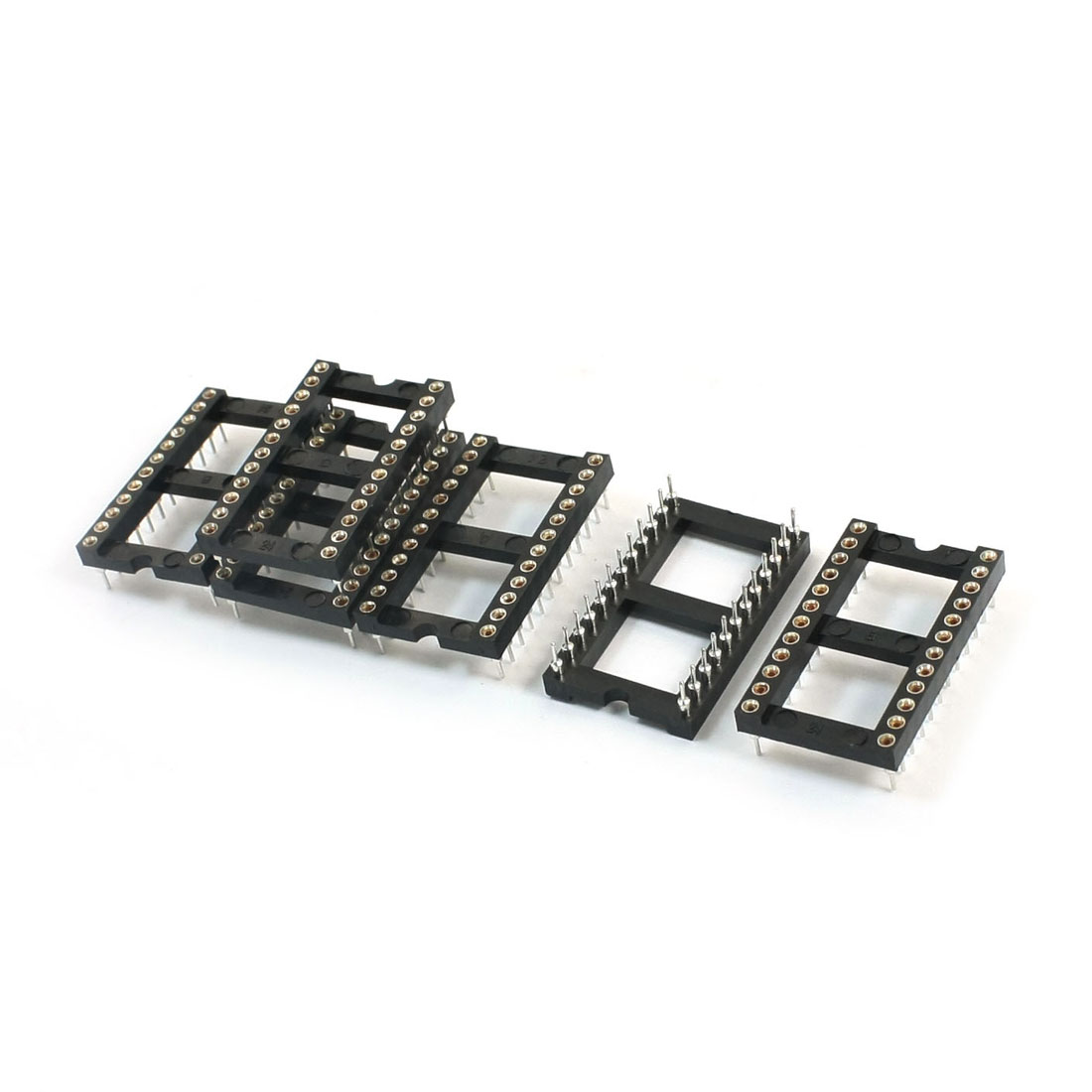 6Pcs 2.54mm Pitch Double Row 24-Pin Soldering DIP Through Hole Mounting IC Socket Swapping Adapter
