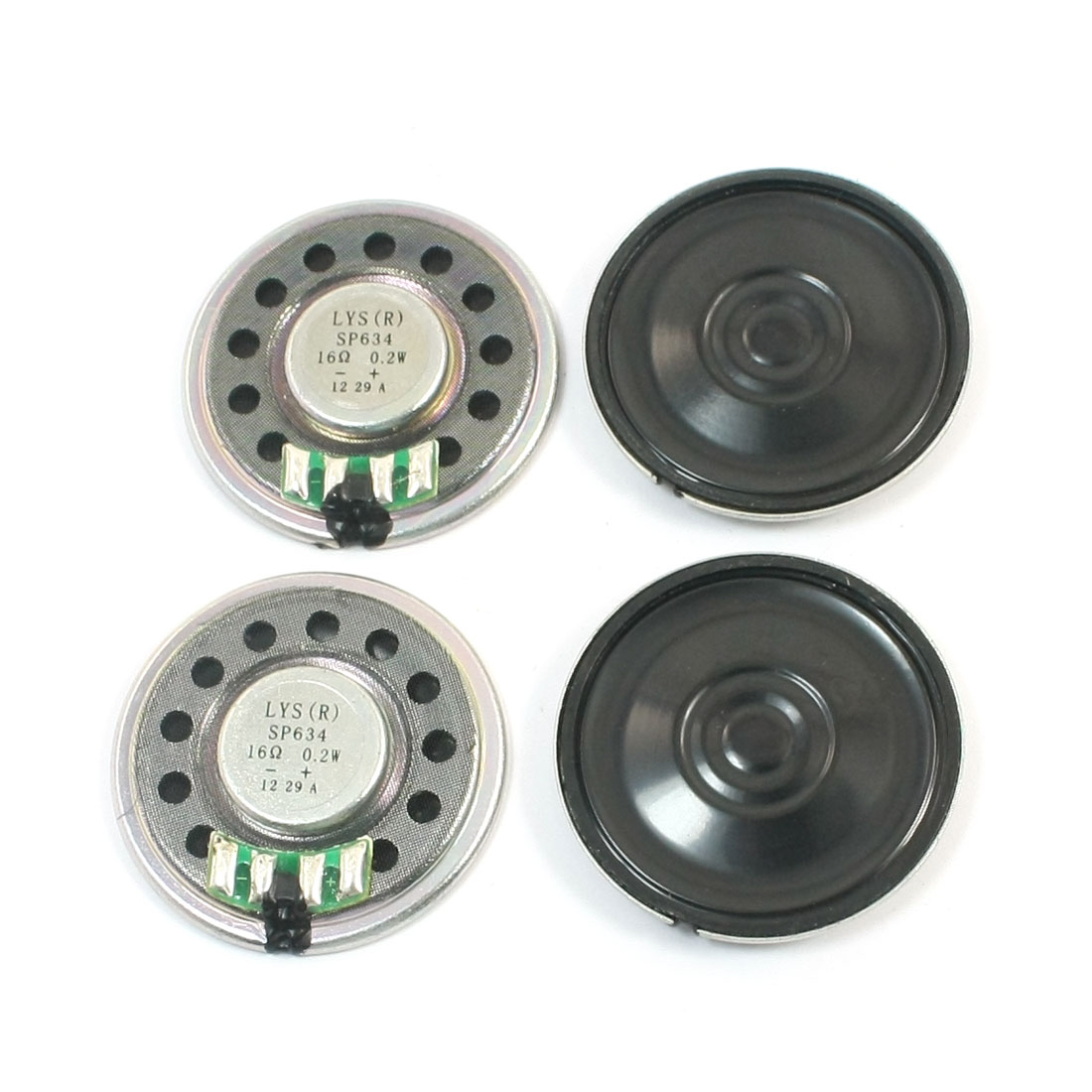 36mm Round Metal Shell Internal Magnet Speaker Learnning Machine Audio Amplifier Loundspeaker 0.2W 16 Ohm 4Pcs